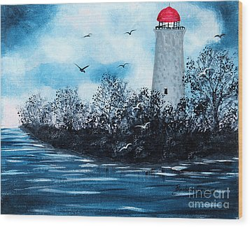 Lighthouse Blues Wood Print by Barbara Griffin