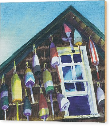 Wood Print featuring the painting Lighthouse Buoys Maine by Susan Herbst