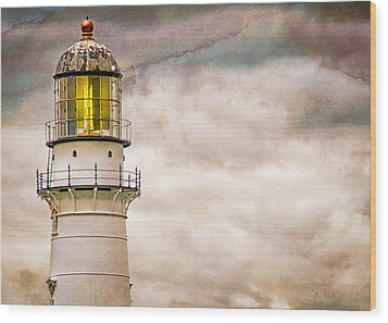 Lighthouse Cape Elizabeth Maine Wood Print by Bob Orsillo