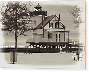 Lighthouse Wood Print by Carolyn Ricks