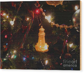 Wood Print featuring the photograph Lighthouse Christmas by Roxy Riou