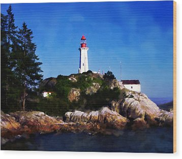 Wood Print featuring the digital art Lighthouse by David Blank