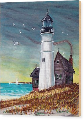 Wood Print featuring the painting Lighthouse by Debbie Baker