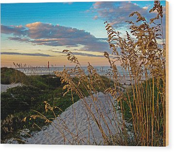 Lighthouse Folly Beach Wood Print