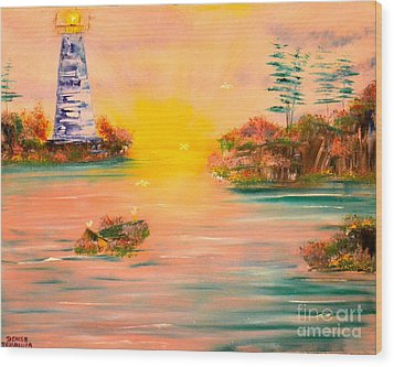 Wood Print featuring the painting Lighthouse For Mom by Denise Tomasura
