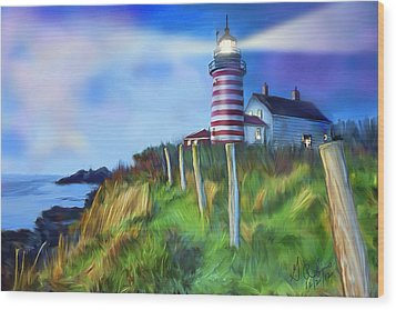 Lighthouse Wood Print by Gerry Robins