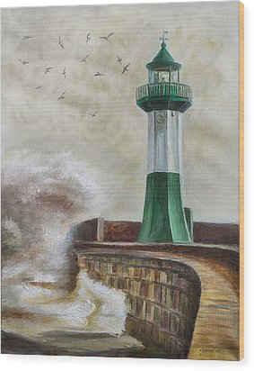 Lighthouse Wood Print by Gynt Art
