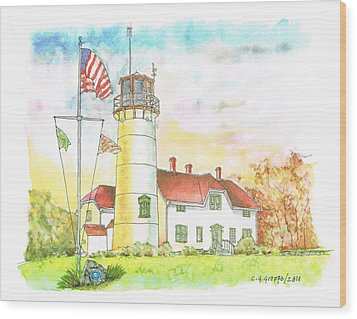 Lighthouse In Cape Code - Massachussetts Wood Print by Carlos G Groppa