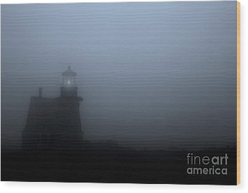 Lighthouse In Fog Wood Print by Diane Diederich