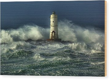 Lighthouse In The Storm Wood Print by Gianfranco Weiss