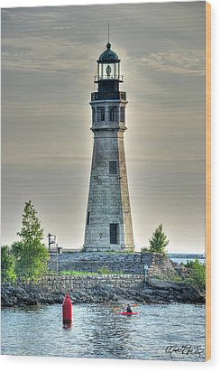 Lighthouse Just Before Sunset At Erie Basin Marina Wood Print