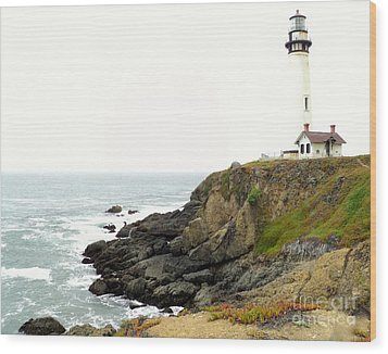 Lighthouse Keeping Watch Wood Print by Carla Carson