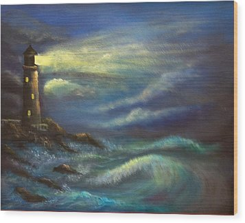 Lighthouse Lights Wood Print