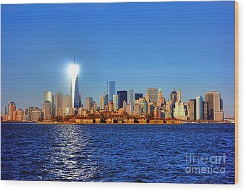 Lighthouse Manhattan Wood Print by Olivier Le Queinec