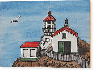 Lighthouse Wood Print by Masha Batkova