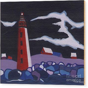 Wood Print featuring the painting Lighthouse Miniature by Joyce Gebauer
