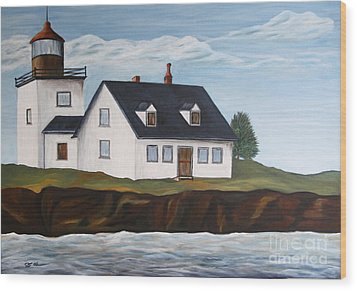 Lighthouse - New England Coast Sold Wood Print by Christiane Schulze Art And Photography