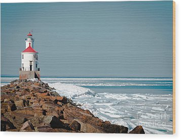 Wood Print featuring the photograph Lighthouse On Stone And Ice by Mark David Zahn