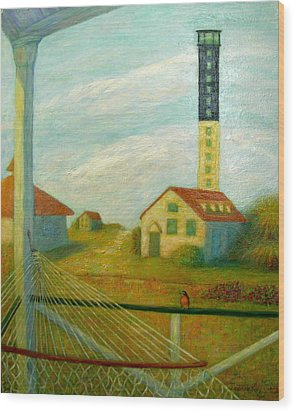 Wood Print featuring the painting Lighthouse On Sullivan's Island by Jeanne Kay Juhos