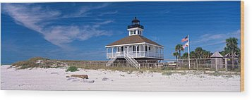 Lighthouse On The Beach, Port Boca Wood Print by Panoramic Images