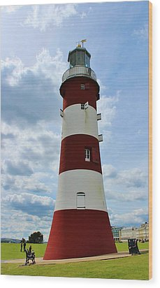 Lighthouse On The Hoe Wood Print by Theresa Selley