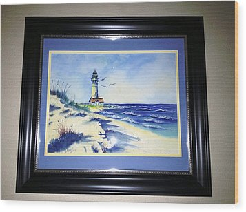 Lighthouse On The Point Sold Wood Print by Richard Benson