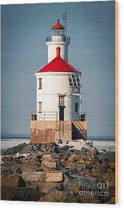 Wood Print featuring the photograph Lighthouse On The Rocks by Mark David Zahn