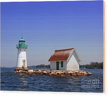 Lighthouse On The St Lawrence River Wood Print by Olivier Le Queinec