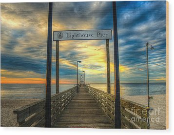 Lighthouse Pier Wood Print by Maddalena McDonald