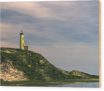 Wood Print featuring the digital art Lighthouse Point by John Pangia