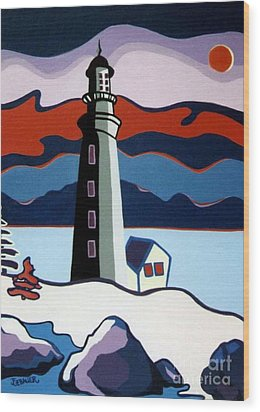 Lighthouse Red Sky Wood Print by Joyce Gebauer