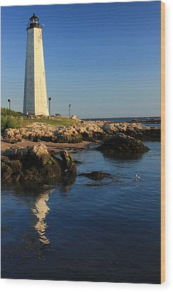 Lighthouse Reflected Wood Print by Karol Livote