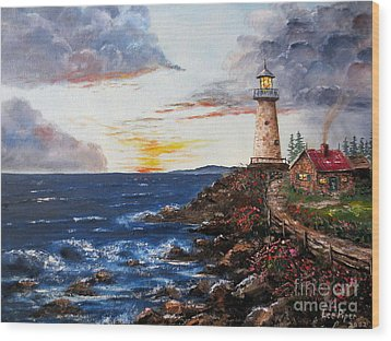 Lighthouse Road At Sunset Wood Print by Lee Piper