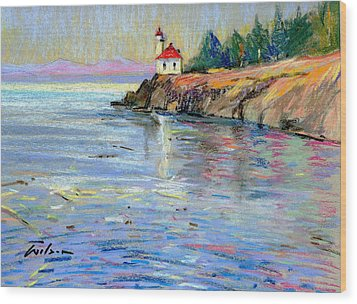 Lighthouse San Juan Island Wood Print by Ron Wilson