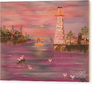 Wood Print featuring the painting Lighthouse Serenade by Denise Tomasura