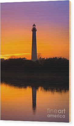 Lighthouse Silhouette Wood Print by Michael Ver Sprill
