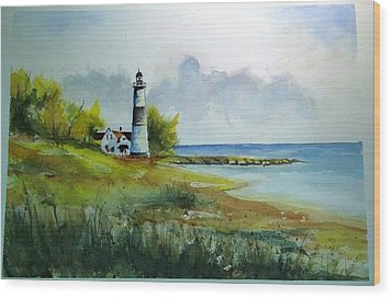 Lighthouse Sold Wood Print by Richard Benson