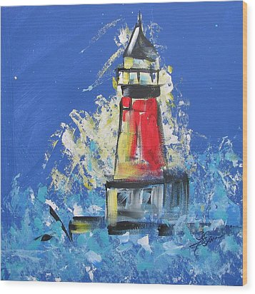 Lighthouse Splash Wood Print