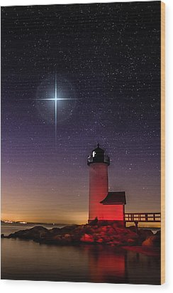 Wood Print featuring the photograph Lighthouse Star To Wish On by Jeff Folger