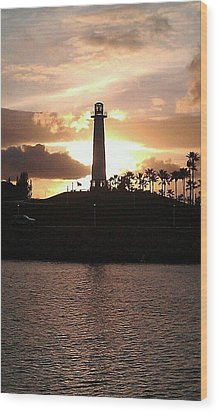 Wood Print featuring the photograph Lighthouse Sunset by John Glass
