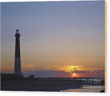 Lighthouse Sunset Wood Print by Art Dingo