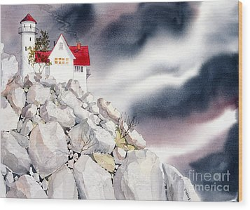 Lighthouse Wood Print by Teresa Ascone