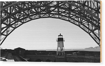 Lighthouse Under Golden Gate Wood Print by Holly Blunkall