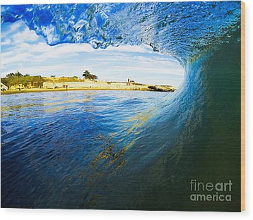 Wood Print featuring the photograph Lighthouse Wave 1 by Paul Topp