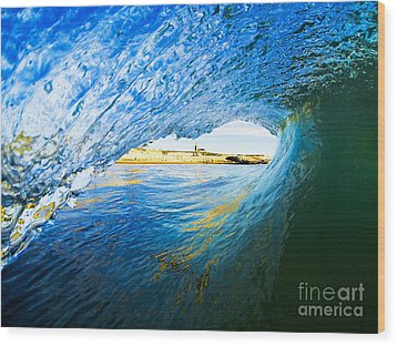 Wood Print featuring the photograph Lighthouse Wave 2 by Paul Topp