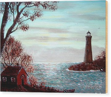 Lighthousekeepers Home Wood Print by Barbara Griffin