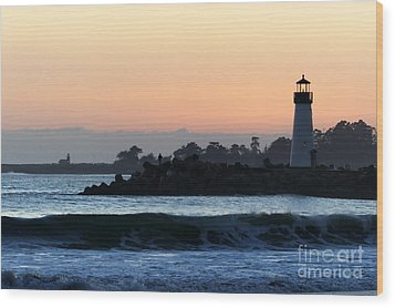Lighthouses Of Santa Cruz Wood Print by Paul Topp