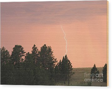 Lighting Strikes In Custer State Park Wood Print