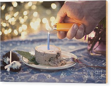 Lighting The Birthday Candle Wood Print by Juli Scalzi