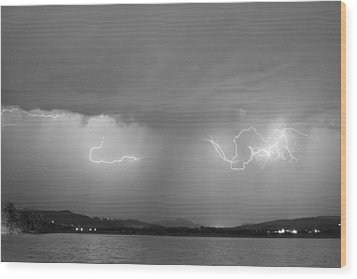 Lightning And Rain Over Rocky Mountain Foothills Bw Wood Print by James BO  Insogna
